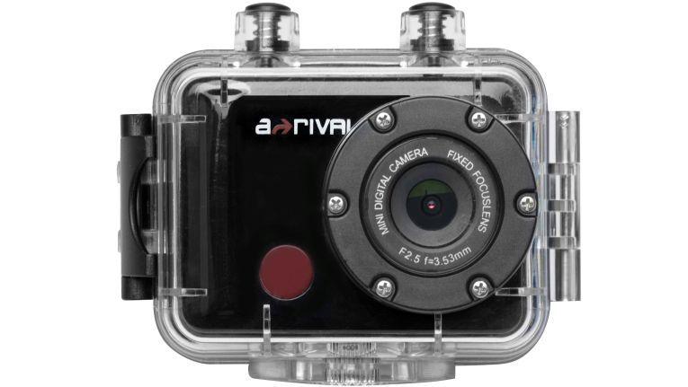 Die aQtionCam RC macht Full HD Videos oder 5 Megapixel-Fotos bis maximal 32 GB, hat Mikrofon, ein Unterwassergehäuse und eine Fernbedienung.