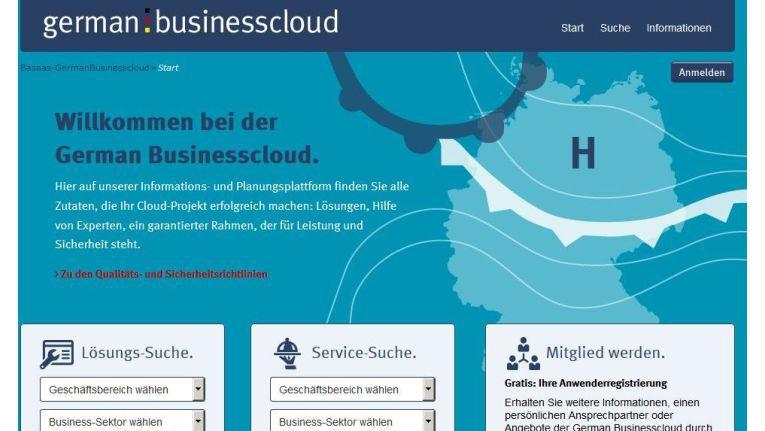 So sieht die Einstiegsseite des Portals German Businesscloud aus.