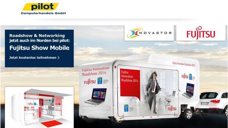 Ihr Portfolio stellen Fujitsu und Novastor den Pilot-Fachhändlern am 27. November 2014 in Seevetal, südlich von Hamburg vor. Mit dabei ist das Fujitsu Show Mobile, welches mit den neuesten Produkten des Herstellers ausgestattet ist.