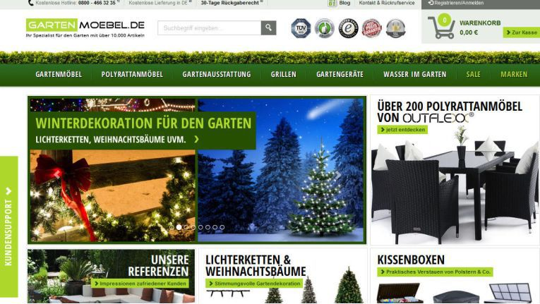 Passend zur Jahreszeit bietet gartenmoebel.de derzeit Weihnachtsdeko für den Garten an.