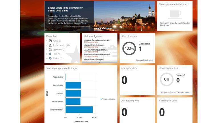 Cloud ist auch für cormeta einer der wichtigsten IT-Trends 2015: SAP Cloud for Customer beispielsweise hilft, die Umsätze eines Unternehmens zu steigern. Im Bild eine Ansicht der Cloud-App mit Informationen über die Abschlussrate bei Geschäften, anstehenden Ereignissen und Aufgaben, Vertriebs-Leads, Kosten pro Lead, Umsätzen aus Pull(-Marketing) sowie Absatzprognosen.
