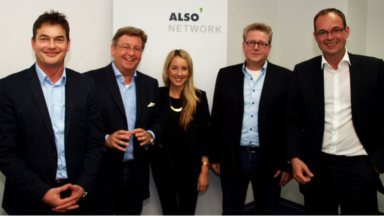 Das neue Also-Network-Team mit Frank Prünte (Director Sales), Arno Alberty (Senior Vice President SMB Europe), Deborah Wohter (Kooperationsmanagement), Bernd Schwede (Manager Kooperationen) und Michael Jonas (Head of Partner Development)