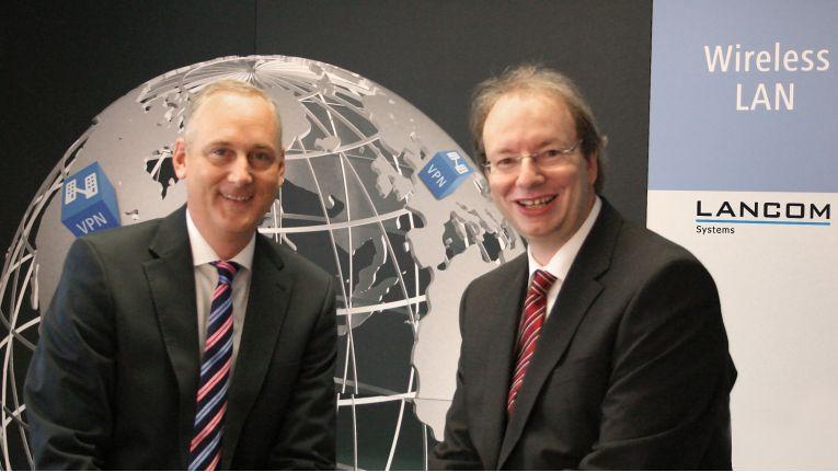 """Die Lancom-Chefs Stefan Herrlich und Ralf Koenzen setzen voll auf """"Managed Services"""" - mit der """"Lancom Management Cloud""""."""
