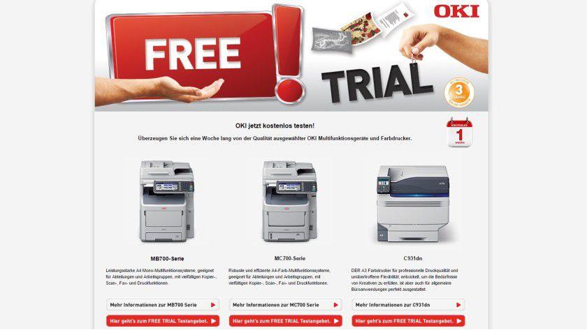 Unter www.oki-tryandbuy.com/de können gewerbliche Endkunden ihr OKI-Wunschmodell für einen kostenloses Druckertest anfordern.
