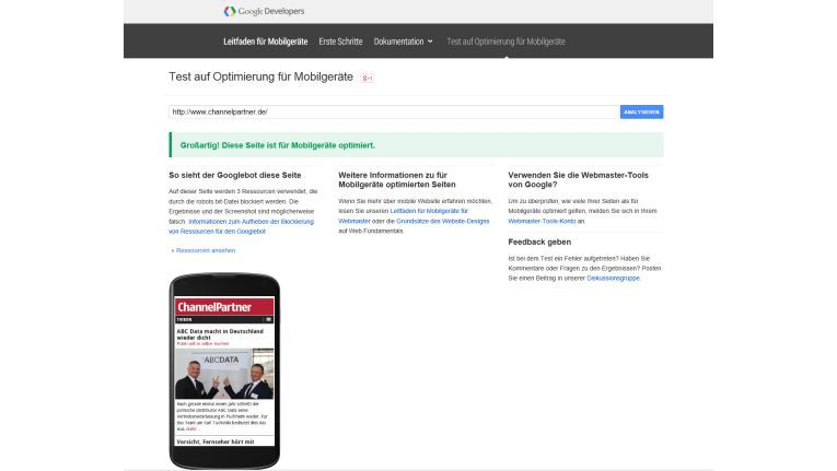 Mobile-friendly oder nicht: Der Test von Google gibt schnell Auskunft.