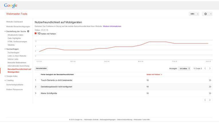 In den Webmaster Tools listet Google alle Fehler auf, die Seitenaufrufe auf mobilen Endgeräten benutzerunfreundlich gestalten.