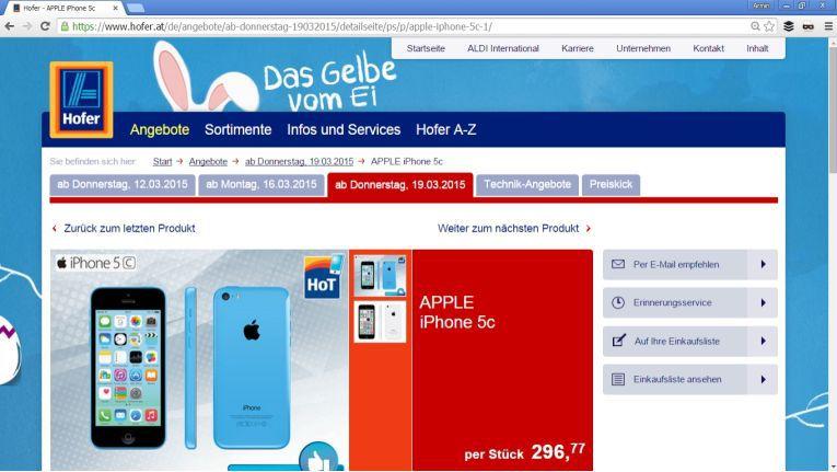 Demnächst bei der österreichischen Aldi-Tochter Hofer zu haben: das iPhone 5c.