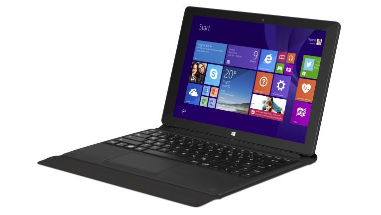 """Die Tastatur des 10-Zoll-Tablets Trekstor """"SurfTab wintron 10.1 pure"""" dient auch als Standfuß und Schutzhülle für das Tablet."""