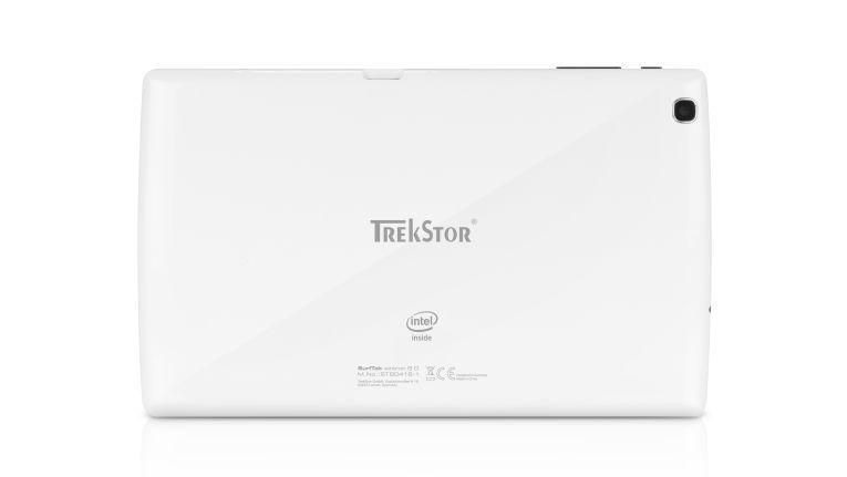 """Das 8-Zoll-Windows-Tablet """"SurfTab wintron 8.0"""" von Trekstor hat eine weiße Rückseite."""