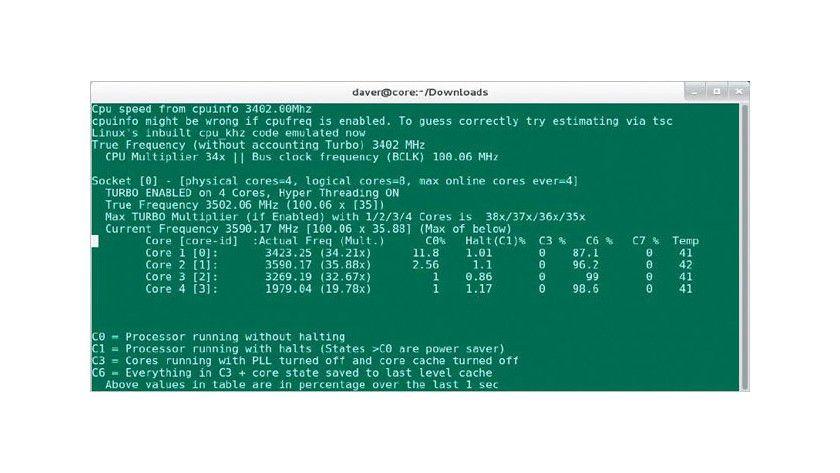 Kernenergie: Der CPU-Monitor i7z zeigt Taktfrequenz, Energiespar-Zustand und Temperatur der physikalischen CPU-Kerne von Intel Core-i-Prozessoren auf der Kommandozeile.