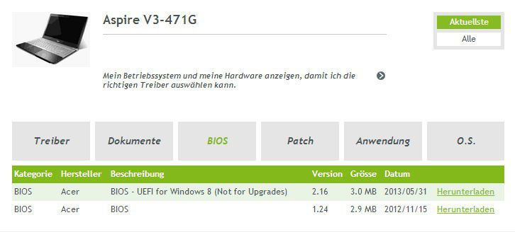 Achten Sie beim Bios-Update darauf, auch das korrekte Betriebssystem auszuwählen