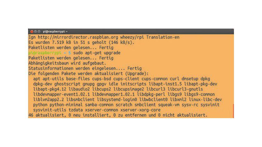 Aktualisieren Sie nach der Installation zunächst einmal die Paketquellen, damit das Raspberry-Sytem die neuesten Versionen der Software erhält.
