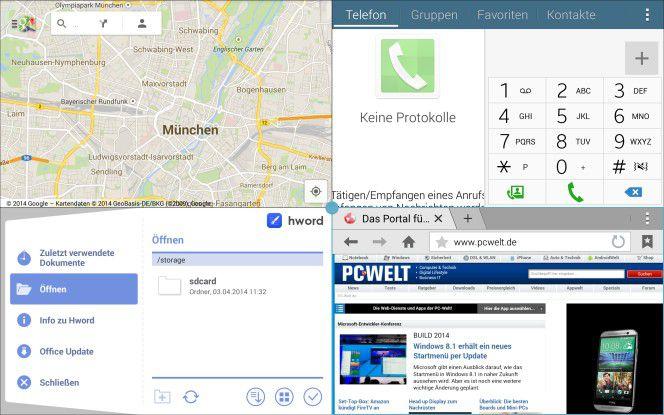 Vier Apps nebeneinander: Der große Bildschirm bietet viel Platz