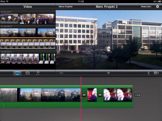 Der Schnittplatz von iMovie: Wenige Bedienelemente, wenige Gestensteuerungen, aber alles da, was man für schnellen Schnitt benötigt.