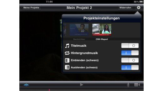 In den Projekteinstellungen bietet iMovie verschiedene Themen an, die den Schnitt erleichtern.