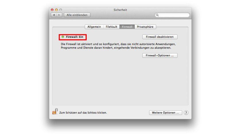 """OS X Mavericks signalisiert den Status der Firewall mit einer grünen Statusleuchte in den Systemeinstellungen """"Sicherheit""""."""