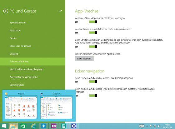 """In der Unterkategorie """"Ecken und Ränder"""" der Einstellungen-App kann man die Funktionen ein- und ausschalten, die Windows 8.1.1 bei einer Berührung mit der Maus in den Ecken des Bildschirms aktiviert."""