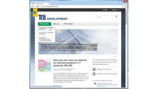 Die Website von TCO Development zeigt: Diese Nachhaltigkeitssiegel ist sowohl für die Hersteller als auch für die Anwender wichtig und interessant.