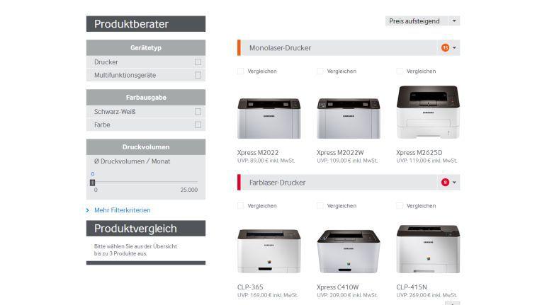 Endanwender, Fachhändlern und Einkäufern sollen mit dem Produktberater den passenden Samsung-Drucker finden.