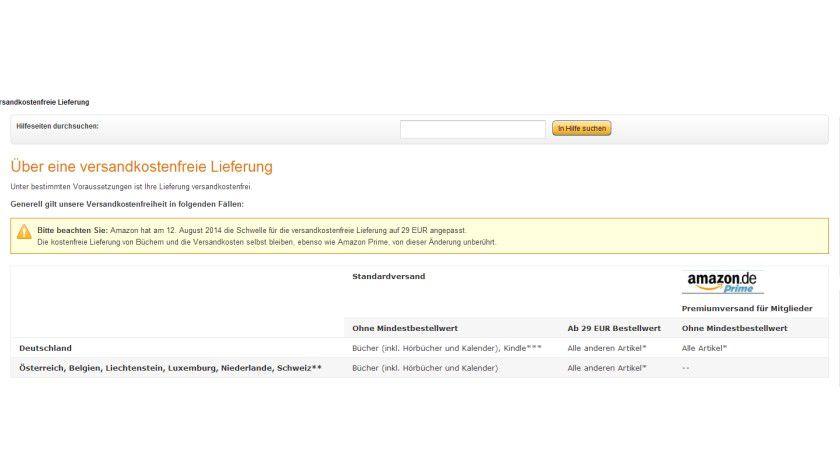 Der Online-Händler Amazon hebt nach über einem Jahrzehnt den Mindestbetrag für Gratis-Versand in Deutschland von 20 auf 29 Euro an.