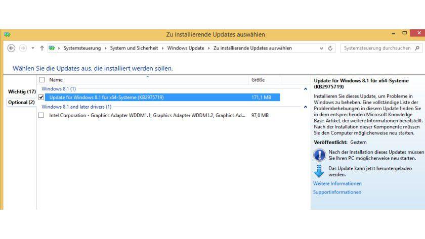 August-Update: Das Update wird unter den optionalen Updates gelistet.