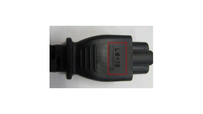 """Rückrufaktion: Betroffene Netzteilkabel tragen die Markierung """"LS-15""""."""