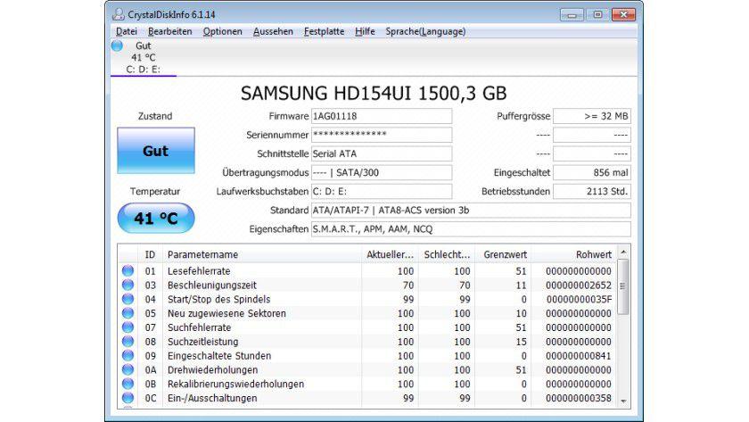 Details: Mit dem Tool lassen sich technische Parameter einer Festplatte oder SSD analysieren.