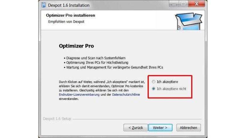 """Zusatzangebot: Wer keinen Wert auf mit installierte Programme legt, sollte beim Setup die Option """"Ich akzeptiere nicht"""" wählen."""