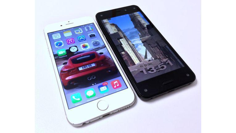 Dimensionen: Amazon setzt wie das iPhone 6 auf einen 4,7-Zoll-Bildschirm. In den Ecken des Fire Phones sehen Sie die Kameras für die Lageerkennung.
