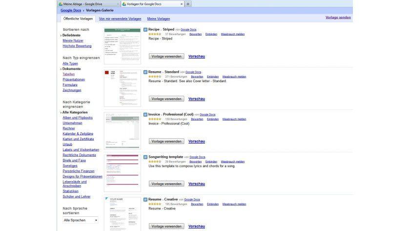 Dokumentvorlagen: Die Templates sind in öffentlichen Galerien organisiert und stammen von Google, anderen Firmen und Google-Nutzern.