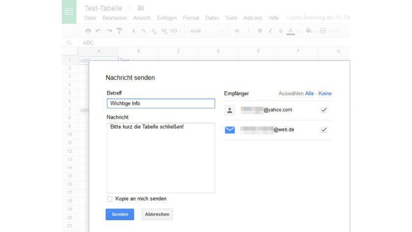 Rundschreiben: Wichtige Infos an die Mitbearbeiter eines Dokuments lassen sich schnell von Google Drive aus verschicken.