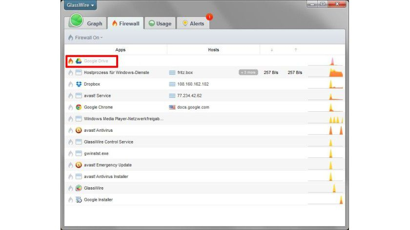 Geblockt: Ein Klick auf das Flammen-Icon aktiviert die Firewall und entzieht der betreffenden Anwendung den Netzzugriff.