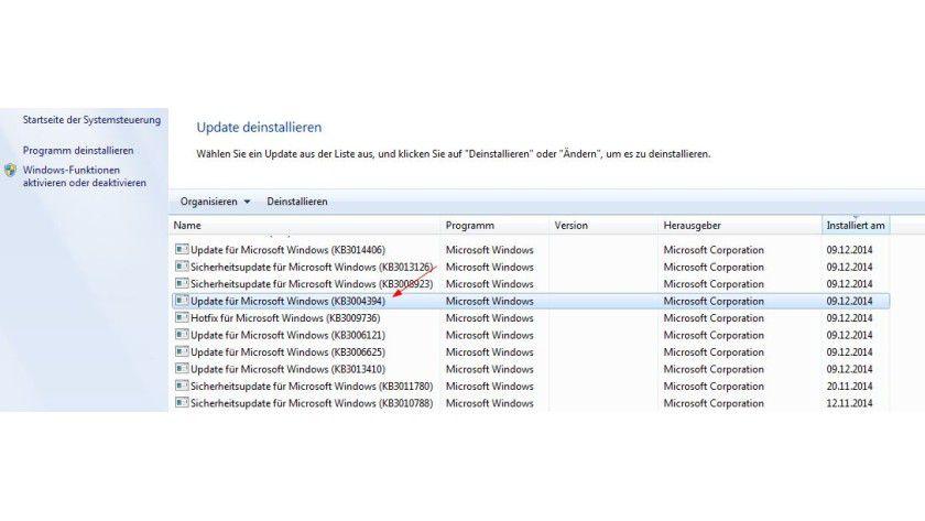 Problemfall: Das Update KB 3004394 kann auf Systemen mit Windows 7 SP1 für Unbill sorgen.