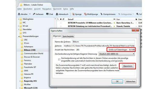 Reparaturfunktion: Fehler bei der Nachrichtendarstellung, etwa durch eine beschädigte Indexdatei, lassen sich oft mit Bordmitteln beheben.