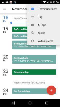 Darstellung: In den Kalender-Einstellungen von Android 5 können Sie die Ansicht des Kalenders anpassen.