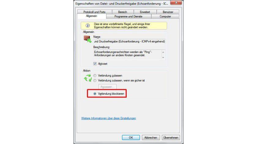 Gesperrt: Ping-Anfragen von anderen Netzwerkrechnern lassen sich über eingehende Regeln blockieren.
