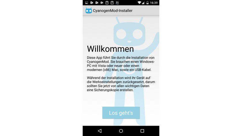 Custom ROM: Die Installation von CyanogenMod 12 wird über einen Assistenten in Android durchgeführt.