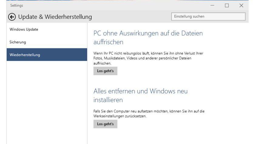 Mit PC Reset und Refresh lassen sich Windows-Systeme wiederherstellen.