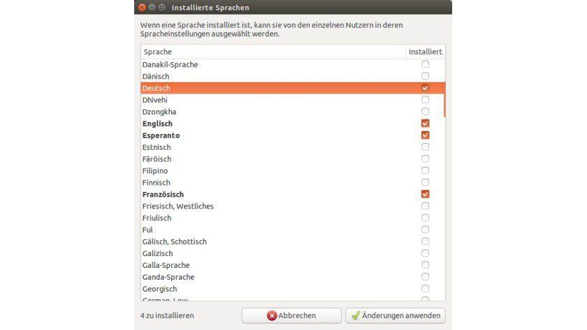 Ubuntu international: Die Arbeitsumgebung der Linux-Distribution lässt sich an eine Vielzahl von Sprachen anpassen, darunter auch recht exotische wie Ful oder Ganda.