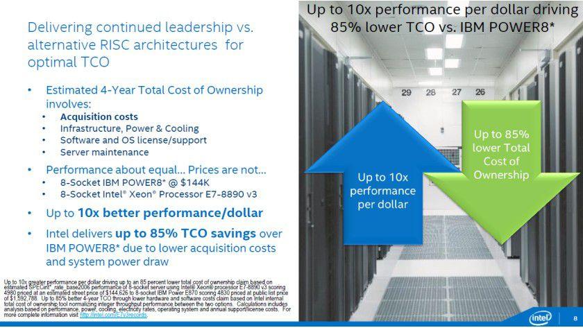 x86 vs. POWER: Intel hebt die Vorzüge der eigenen Plattform gegenüber dem Konkurrenten hervor.