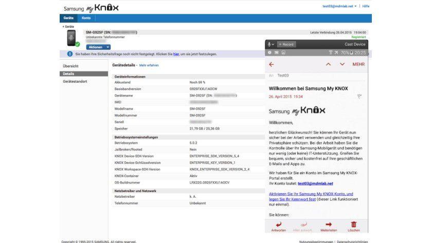 """Mit dem kostenlosen """"Samsung My KNOX"""" kann der Benutzer sein Gerät unabhängig von der IT verwalten."""