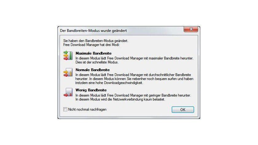 Traffic: Damit neben dem Download noch genug Bandbreite im Netzwerk zur Verfügung steht, verfügt die Software über drei Modi.