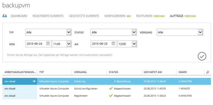Azure-VMs: Die Aufträge der Sicherung verwalten Sie in den Einstellungen des Sicherungstresors.