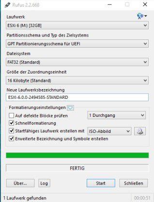 Einfache Installation: ESXi können Sie auch über einen USB-Stick installieren.