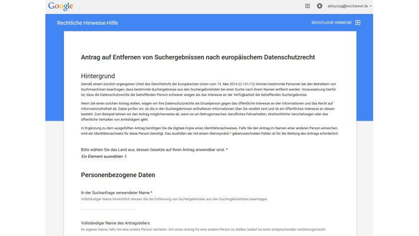 Googles Formular, um die Löschung von Sucheinträgen zu beantragen.