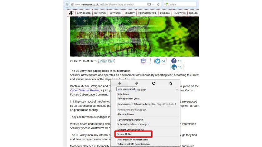 """Sicher oder unsicher: Mit der Erweiterung """"Secure Or Not"""" erscheinen die Links auf einer Webseite grün oder rot hervorgehoben."""