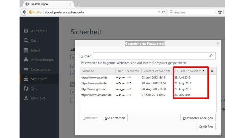 Passwort-Manager: Wann Sie welches Kennwort zuletzt geändert haben, können Sie mithilfe von Firefox-Bordmitteln sehen.