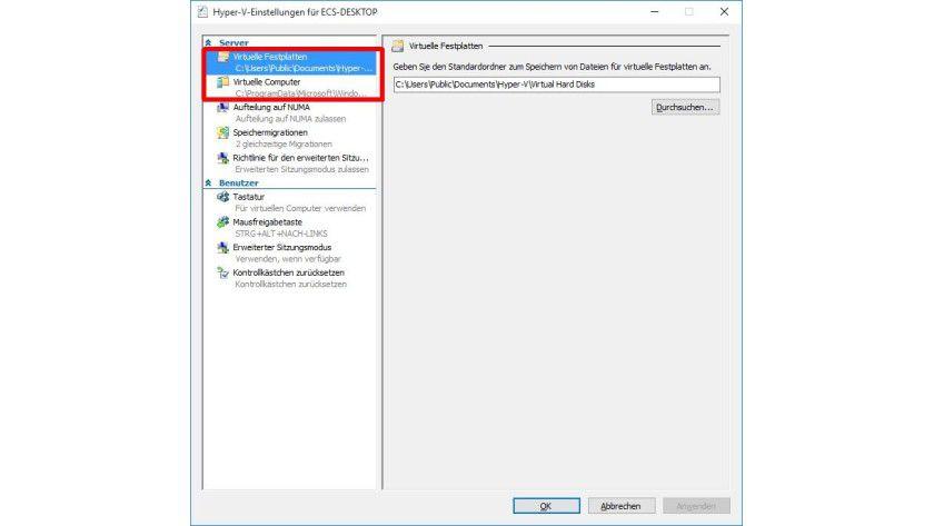 Default-Verzeichnis: Standardmäßig speichert Hyper-V virtuelle Maschinen auf dem lokalen Laufwerk, wo sich auch der Host befindet.