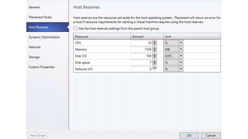 Reserviert: Mit dem Virtual Machine Manager des System Centers lassen sich Ressourcen für den Host freihalten.