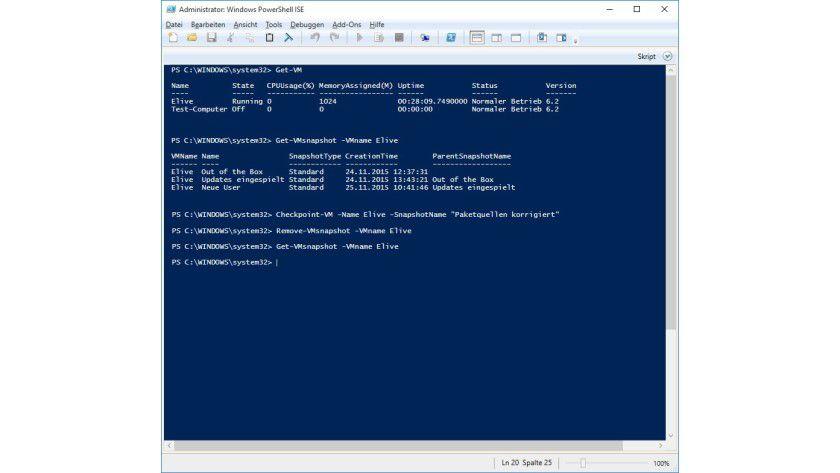 Verwaltung per Powershell: Das Abfragen, Erstellen und Löschen von Snapshots gelingt mit wenigen Befehlen und funktioniert meist schneller als über die GUI.